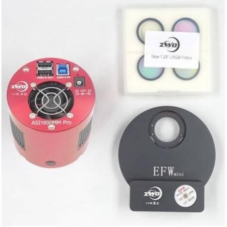 camera refroidie asi 1600 monochrome + roue a filtres mini + 4 filtres lrgb optimise
