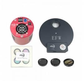 Caméra refroidie ASI 1600 monochrome + Roue à filtres EFW 8 positions + 7 filtres 31.75 mm.