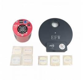 Caméra refroidie ASI 1600 monochrome + Roue à filtres EFW 8 positions + 7 filtres 31mm circulaire non monté.