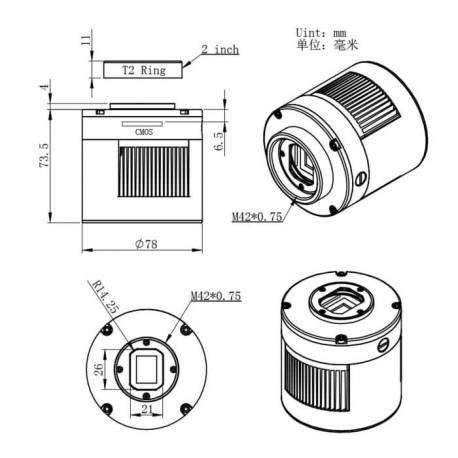 Caméra ZWO ASI 183 Pro Monochrome ou couleur