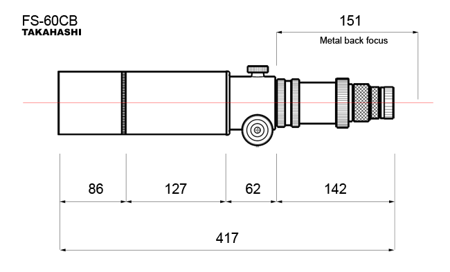 Dimensions de la Takahashi FS-60CB