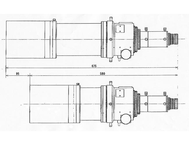 FSQ-106ED - Vues longitudinales cotées (en mm)