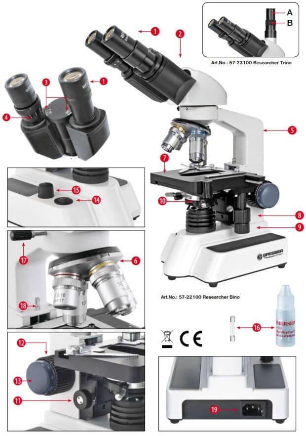 Microscope binoculaire Researcher 40x à 1000x