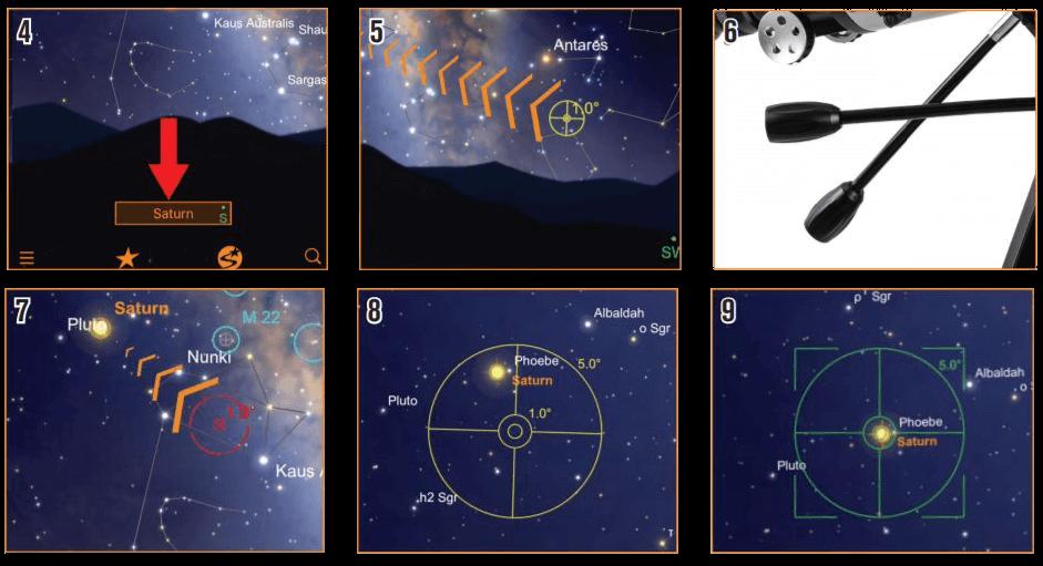 Diriger votre télescope StarSense Explorer sur votre objet en suivant les flèches de l'application
