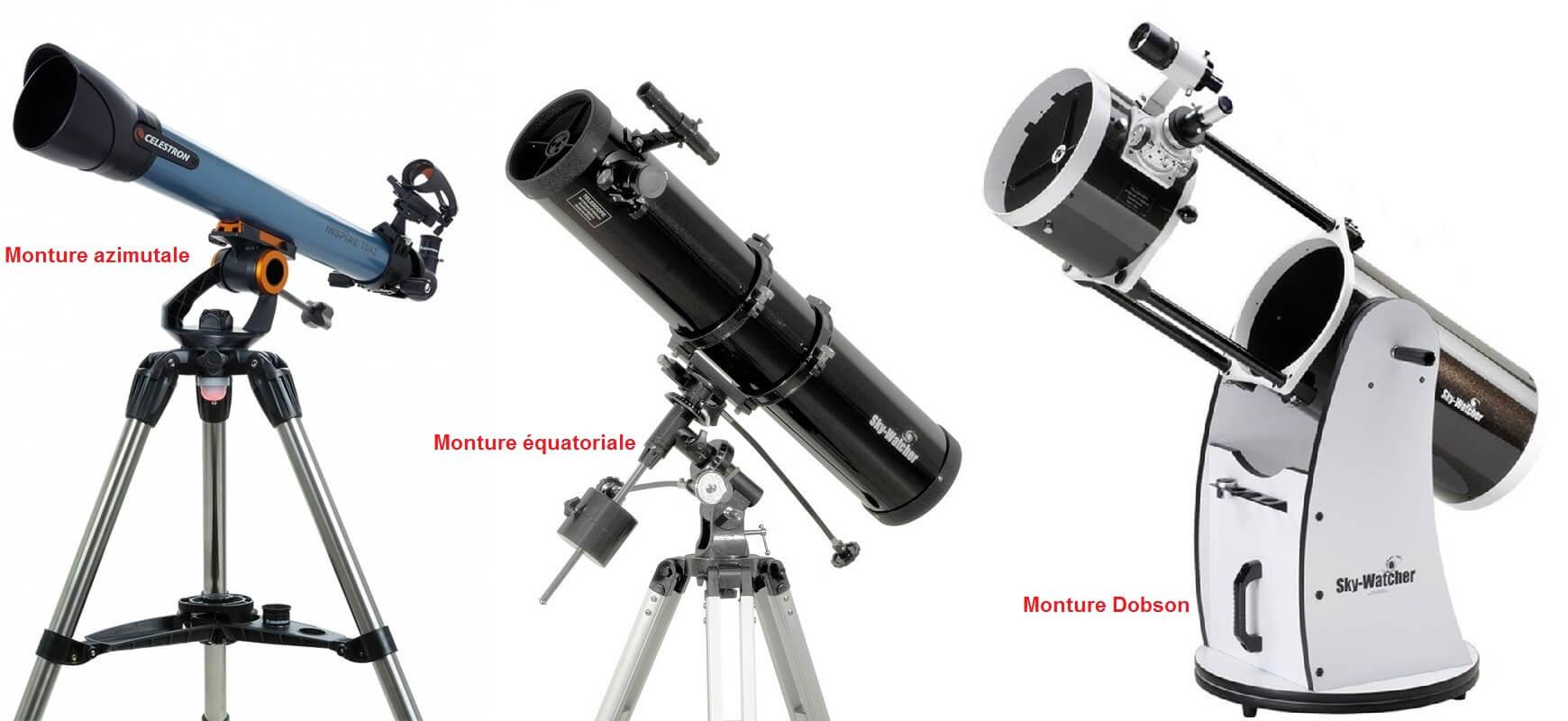 Monture télescope : azimutale, équatoriale et Dobson